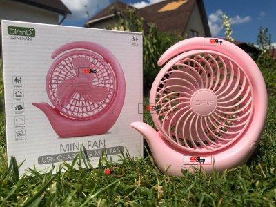 Портативный аккумуляторный от USB мини вентилятор с поворотным механизмом Mini Fan (SQ-2021) Розовый