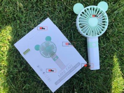 Портативный аккумуляторный мини вентилятор с ушками и складной ручкой DianDi Mini Fan (SQ-2163) Зелено-белый