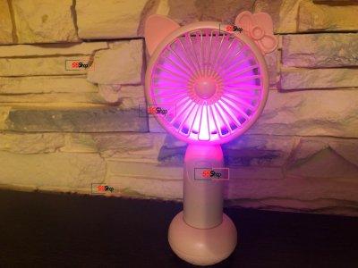Портативный аккумуляторный мини вентилятор с ушками и RGB подсветкой DianDi Mini Fan (SQ-2165) Розовый