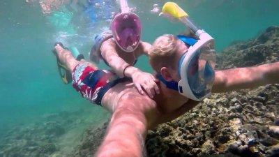 Маска детская для дайвинга снорклинга Free Easybreath для подводного плавания c креплением для камеры GoPro розовая XS 150743