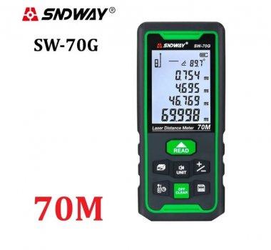 Лазерна рулетка-далекомір SNDWAY SW-70G з рівнем нахилу до 70 метрів акумулятор