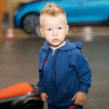 Детская спортивная кофта для мальчика KR-08-18 Медведь Темно-синий