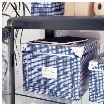 Контейнер для зберігання IKEA FJÄLLA 25x36x20 см білий синій 804.325.47