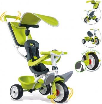 Велосипед детский Smoby Toys металлический с козырьком, багажником и сумкой зеленый (741100) (3032167411006)