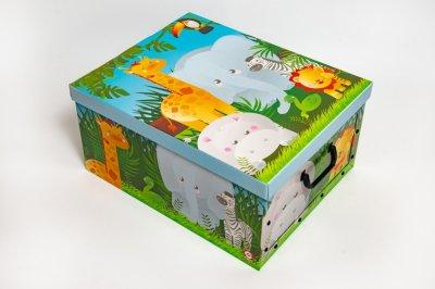 Коробка картонная с пластиковыми ручками Evoluzione 40 х 50 х 25 см Африканские звери (20)