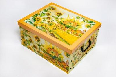 Коробка картонная с пластиковыми ручками Evoluzione 40 х 50 х 25 см Подсолнухи (12)