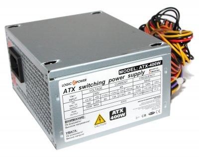 Блок питания LogicPower 400W ATX400W Micro 80 mm 20+4pin 1x4pin SATA х 2 Molex 2x4pin кабеля немодульные