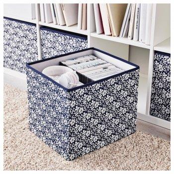 Коробка IKEA DRÖNA 33x38x33 см подарункова синя біла з візерунком 102.819.57