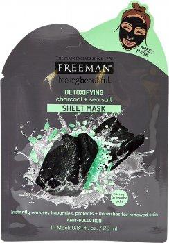 Тканевая маска для лица детокс Freeman Уголь и Морская соль 25 мл (072151484275)
