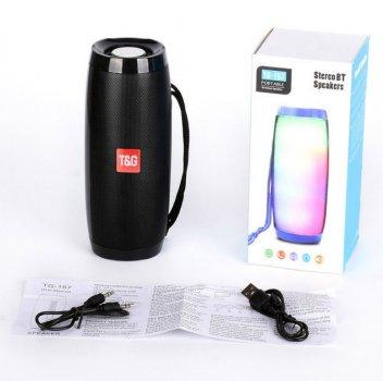 Портативна Bluetooth колонка T&G 157 Pulse з різнокольоровою підсвіткою, гучний зв'язок, вологостійка. Чорна