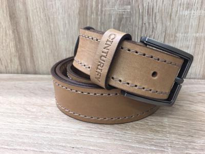 Мужской кожаный ремень Cinturify под джинсы, размер 105-125 см. Ширина 3.8см Бежевый