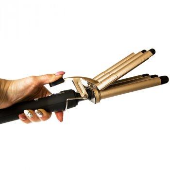 Плойка для волосся Gemei п'ятихвильовий з керамічним покриттям і обертовим шнуром на 360 градусів Чорно-золота (GM-2933)