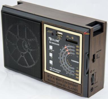 Акустическая система Golon аккумуляторный FM радио приемник в ретро стиле с USB выходом под флешку Коричневый (RX-9922)