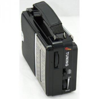 Акустическая система Golon радиоприемник аккумуляторный FM радио колонка с фонариком и USB выходом Чёрный (RX-606)