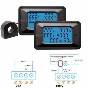 Ватметр Wired Power Monitor 100A AC 220В вимірювач параметрів струму