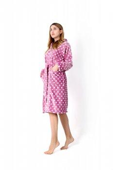 Женский халат махровый на молнии Amelino розовый в горошек.