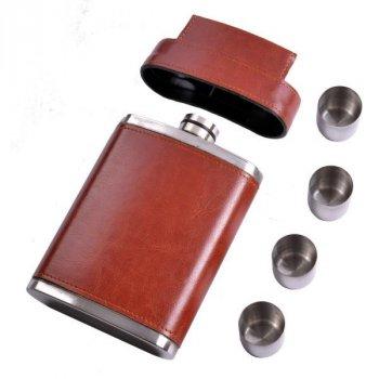 Фляга 300 мл Brown Leather и 4 рюмки, Нержавеющая сталь