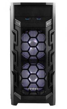 Корпус Antec GX202,Gaming, MidT, 2*USB3.0, 2*120мм LED white+1*120мм, акрил(бок.панель),безБП,черный (JN630-761345-80015-0)