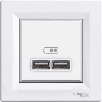 Розетка USB Schneider Electric Asfora 2.1A Біла (EPH2700221)