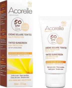 Солнцезащитный крем для лица Acorelle с эффектом тонирования SPF50 органический 50 мл (3700343046143/3700343046341)