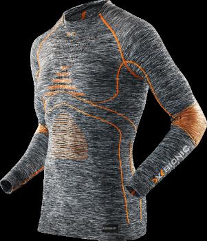 Термофутболка мужская X-Bionic Energy Accumulator Evo Melange Men Shirt Long Sleeves Grey Melange/Orange I100664