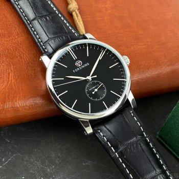 Мужские механичиские часы Forsining Silver наручные классические на кожаном ремешке + коробка (1059-0039)