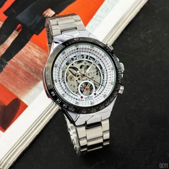 Мужские механичиские часы Winner Silver наручные классические на стальном браслете + коробка (1099-0011)
