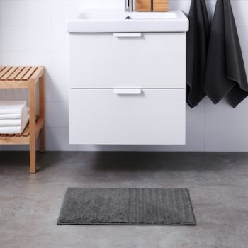 Килимок для ванної кімнати мікрофібра IKEA VINNFAR 40x60 см Темно-сірий (904.472.75)