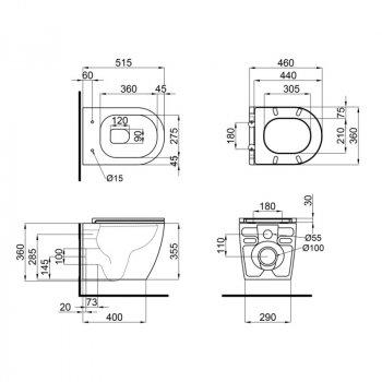 Унитаз подвесной Qtap Scorpio безободковый с сидением Slim Soft-close QT1433053ERW (SD00042650)