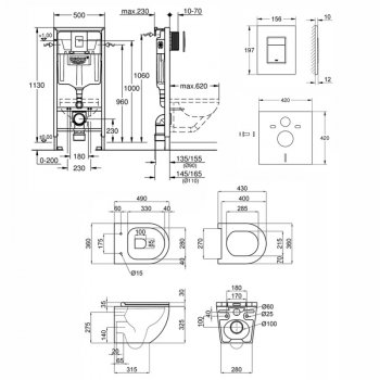 Комплект інсталяція 4 в 1 Grohe Rapid SL 38772001 і унітаз з сидінням Qtap Robin QT1333046ENRW (SD00042942)