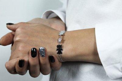 """Серебряный браслет для мамы """"Девочка-звезда"""" размер 16,5 проба 925 [Black-Pearl]"""