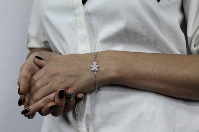 """Серебряный браслет для мамы """"Заботливая мама"""" размер 17 проба 925 [Black-Pearl]"""