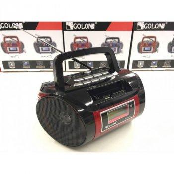 Акустична система Golon радіоприймач акумуляторний з цифровим дисплеєм магнітофон колонка з FM радіо в стилі бумбокс з пультом керування Чорний (662Q)