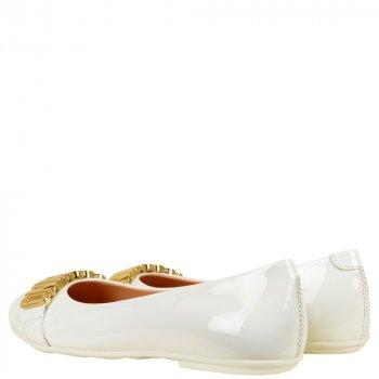 Балетки Moschino 25555 bianco lettere oro білий
