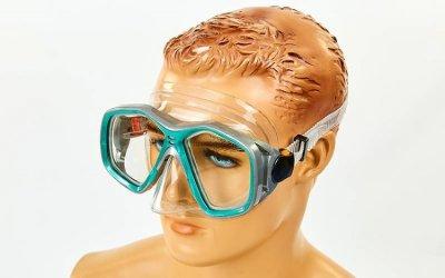 Набор для плавания маска с трубкой Zelart M276-SN120-PVC бирюзовый-серый