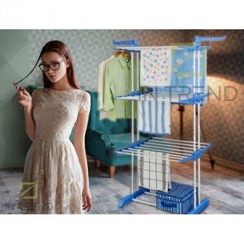 Універсальна складна підлогова вішалка для сушки одягу Garment Rack багатофункціональна вертикальна Сушка для білизни і одягу Блакитна