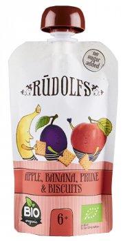 Фруктове органічне пюре Rudolfs Смузі яблуко, банан і чорнослив з печивом 110 г (4751017940938)