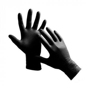 Рукавички Nitrylex basic black медичні нестерильні нітрилові без пудри Розмір XS 100шт в упаковці Чорні