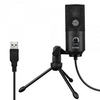 Мікрофон конденсаторний Fifine K669 USB + тринога Чорний