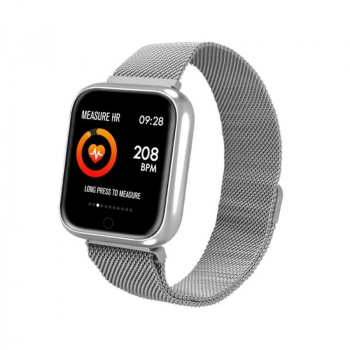 Смарт-годинник Smart P70 з металевим браслетом + силіконовий ремінець у подарунок + тонометр, пульсометр і крокомір Сріблястий