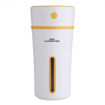 Увлажнитель воздуха ароматизатор диффузер ночник Mini Humidifier 300 мл micro USB ультразвуковой Белый/Желтый