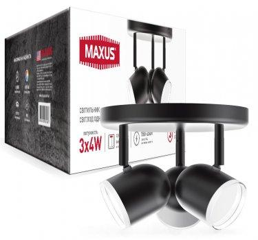 Спотовий світильник MAXUS MSL-01R 3x4W 4100K чорний (3-MSL-11241-RB)