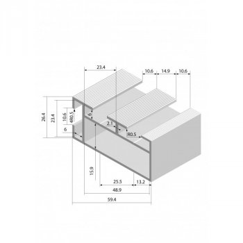 Рейка основы стандартная 6100мм Алюминий Украина sku00199