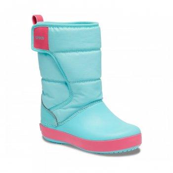 Детские зимние сапоги Crocs Kids' LodgePoint Snow Boot Бирюзовые на липучке