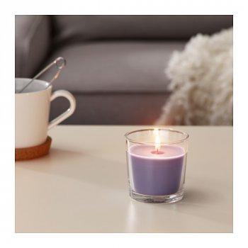 Ароматична свічка в склянці IKEA (ІКЕА) SINNLIG 7.5 см ожина бузкова (803.373.95)