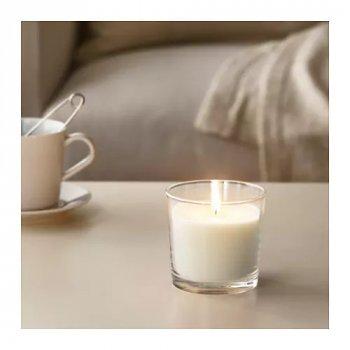 Ароматична свічка в склянці IKEA (ІКЕА) SINNLIG 9см ніжна ваніль бежевий (103.374.07)