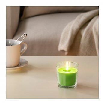 Ароматична свічка в склянці IKEA (ІКЕА) SINNLIG 7.5 см яблуко і груша зелена (303.373.93)