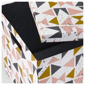 Коробка з кришкою IKEA (ІКЕА) TJENA 30х30х30см біла чорна рожева (203.982.21)