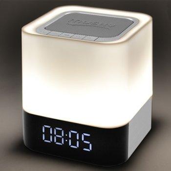 Портативна колонка-нічник-годинник Musky MAGIC, c підсвічуванням, біла