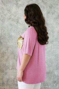 Футболка с карманом на груди ЛАЛА розовая